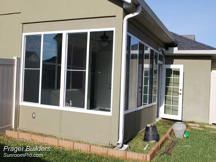 Orlando sunroom addition glass windows prager builders for Large windows for sunroom